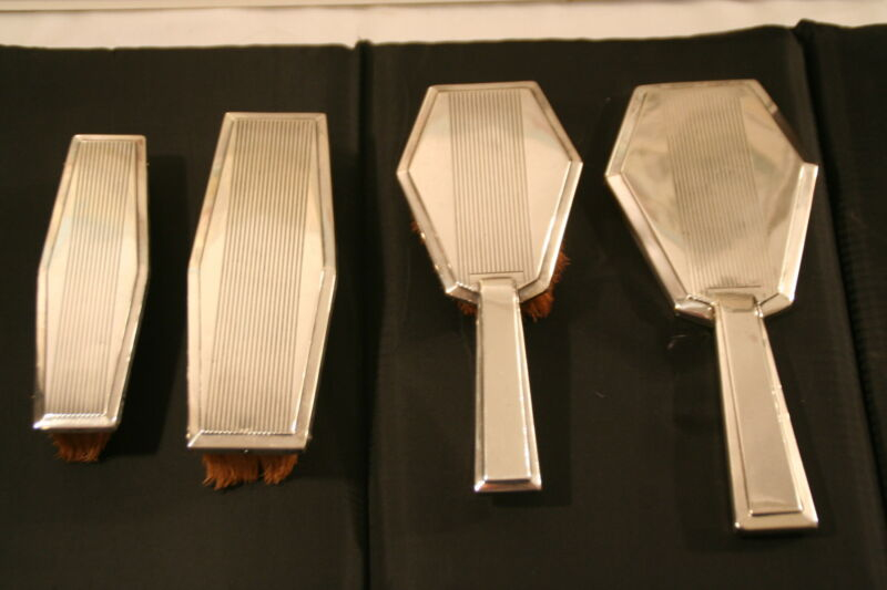 Antique 4-Piece French Art Deco Silver Brush and Mirror Set