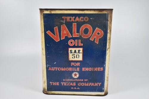 Vintage Texaco Valor S.A.E. 50 Motor Oil 2 Gallon Tin Can The Texas Company