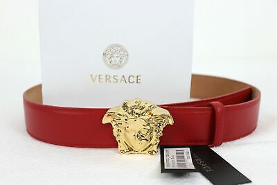Authentic Versace Palazzo Red Leather Belt with GOLD Medusa Head (Versace Leather)