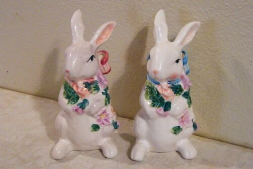 2 - Ceramic Bunny Rabbit Figurines COUPLE Decorated EASTER SPRING