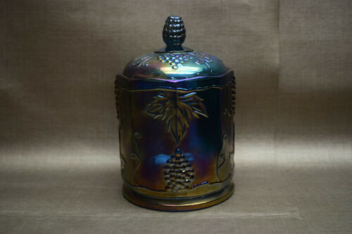 Indiana Blue Grape Harvest Canister Jar - Iridescent Carnival Glass
