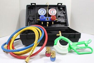 Ac Gauges Manifold Set W Hoses Hvac R12 R R134a Chargingtesting Ac Can Tap