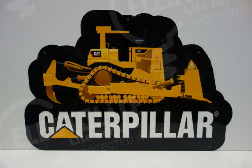 "CATERPILLAR D9 STEEL DEALER DIE CUT Sign Rare 2004-2005 ENAMEL 20"" BY 30"""