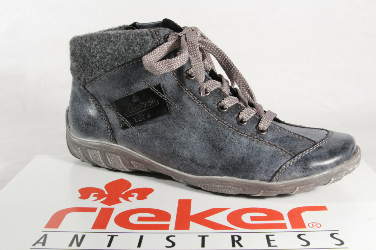 Rieker Damen Schnürschuhe Boots Stiefel blau L6540 NEU gQOuO
