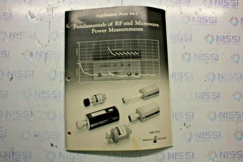 HP FUNDAMENTALS OF RF & MICROWAVE POWER MEASUREMENTS APPLICATION NOTE 64-1