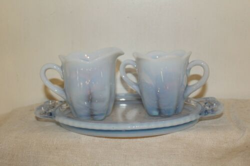 Vintage Duncan and Miller Blue Opalescent Canterbury Creamer and Sugar Set