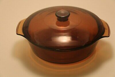 ANCHOR HOCKING BROWN ROUND GLASS OVENWARE W/LID 1.5Q FIRE KING BOWL