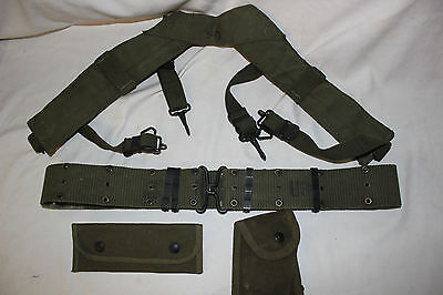 """US Military Issue Vietnam Era Pistol Belt with H Suspenders and 2 Pouches """"Lot"""""""