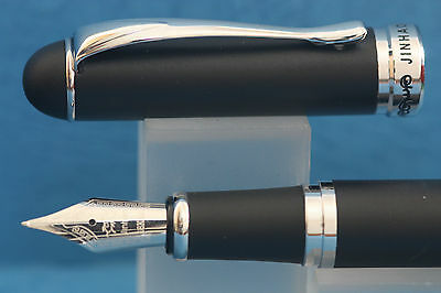 New Jinhao x750 Epoxy Matt Black Medium Fountain Pen with Chrome Trim, UK Seller