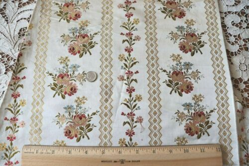 "Antique French 19thC Silk Floral Brocade Fabric Panel c1870~L-48""X W-20"""