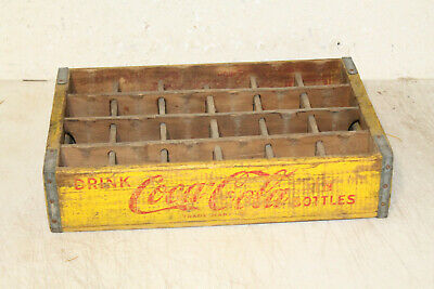 Vintage YELLOW WOODEN COCA COLA Crate Case Box Caddy ADVERTISING 24 SLOTS WOOD