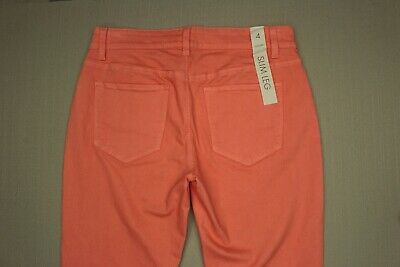 - Ann Taylor Modern Fit Slim Leg Jeans Women's Size 4 Coral Colored Denim NEW
