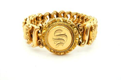 """Vintage Victorian Gold Filled GF Etched Monogram S Stretch Bracelet 5.25"""""""