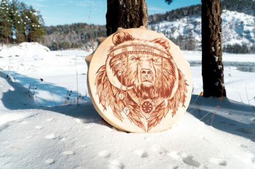 Shaman drum tambourine Siberian authentic round 50 cm in diameter bear