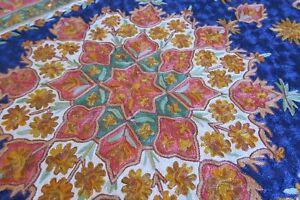 Silk Kashmir Chain Stitch Rug 180x125 Handmade Lot 03