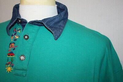Guatemalan Handicrafts Embroidered Cotton Green Polo Shirt XXL 2XL Denim Collar Denim Embroidered Polo Shirt