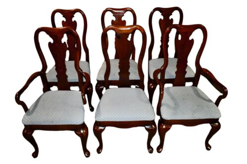 Vintage Thomasville Queen Anne Style Set of Six Dining Chairs