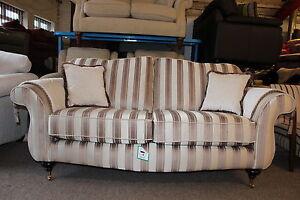 Ex Show Room Model Buckingham Cream Striped Fabric 3 Seater Sofa