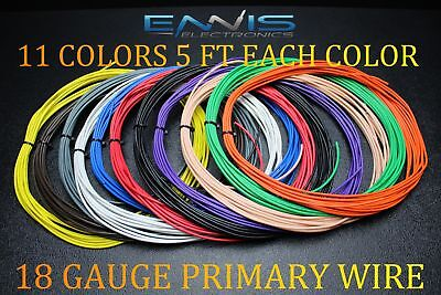 18 GAUGE WIRE 55 FT ENNIS ELECTRONICS 5 FT EA 11 COLORS AWG COPPER CLAD