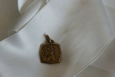 Medal Religious Antique Signed Lassere Saint Christopher in Fix