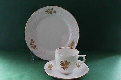 Rosenthal Sanssouci Weiss mit Goldrand Kaffeegedeck 3 teilig Goldblume
