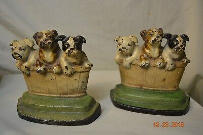 Rare M. Rosenstein Cast Iron Dogs Puppies in a Wastebasket Bookends