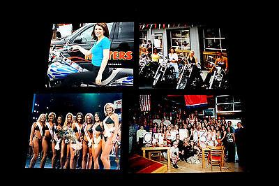 "4 Sexy Vtg Hooters Calendar Girls Motorcycle Bikini Contest  8"" x 10"" Photo"
