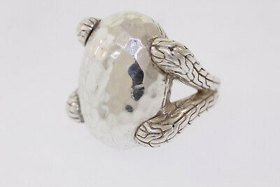JOHN HARDY Sterling Silver Classic Chain Large Hammered Oval Ring Size 5