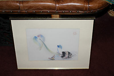 Chinese Asian Water Color Painting-Budding Flower-Signed & Stamp-Framed