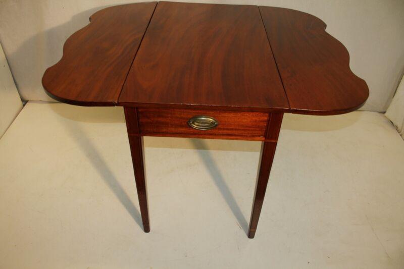 Gorgeous English Sheraton Inlaid Solid Mahogany Pembroke Table, Late 18th C.