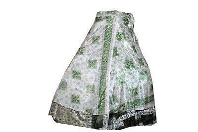 Indian Silk Long Skirt Women Vintage Wrap Bohemian Skirt Gypsy Hippie Boho Dress