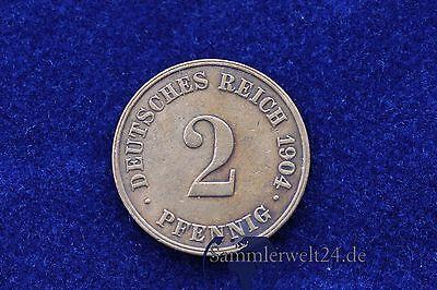 alte Münze 2 Pfennig Deutsches Reich 1904 J