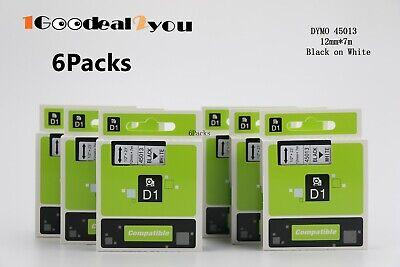 6 Pack Black On White Tape 45013 D1 Label Cassette For Dymo Labelmanager 210d