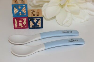 - Personalized Soft Bite Baby Spoons, 2 Pack, Engraved, Baby Feeding, Baby Spoon