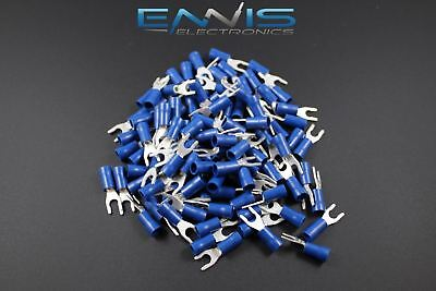14-16 Gauge Vinyl Locking Spade 8 Connector 500 Pk Blue Crimp Terminal Awg