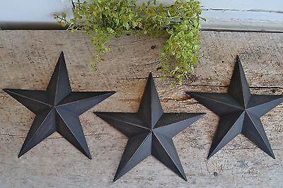 "Set of 3 ~  8"" BLACK BARN STARS Metal Tin  Primitive Country"