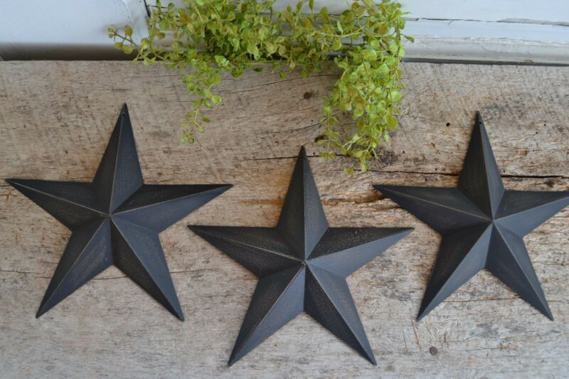 "Set of 6 ~  8"" BLACK BARN STARS Metal Tin  Primitive Country"