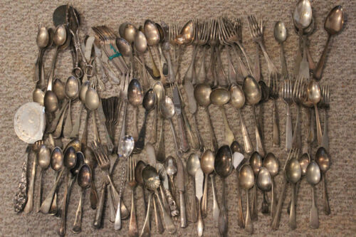 134 pc. (10Lbs) Antique Vintage Silverplate Flatware Craft or Jewelry Makers Lot