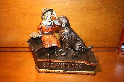 Nice Original Cast Iron Mechanical Bank SPEAKING DOG by John Harper Cir.1902