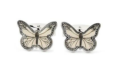 Dolce & Gabbana Butterfly Cufflinks White Silver Metal Men's accessories ITALY