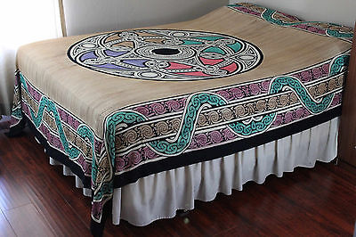 Celtic Tapestry Cotton Wheel of Life Tablecloth Spread Beach Sheet Twin Tan for sale  Concord