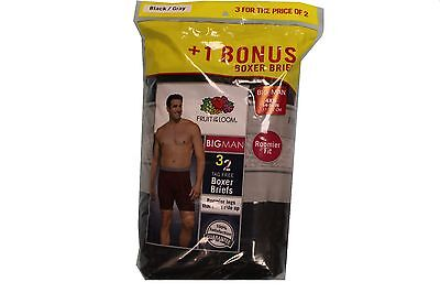 Fruit of the Loom Men's 3-Pack Big Man Boxer Briefs - Black