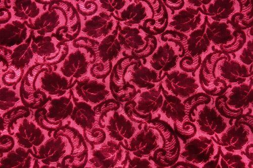 "Christmas Crimson 19thC French Silk Leaf Cut Velvet c1870~L-30"" X W-26"""