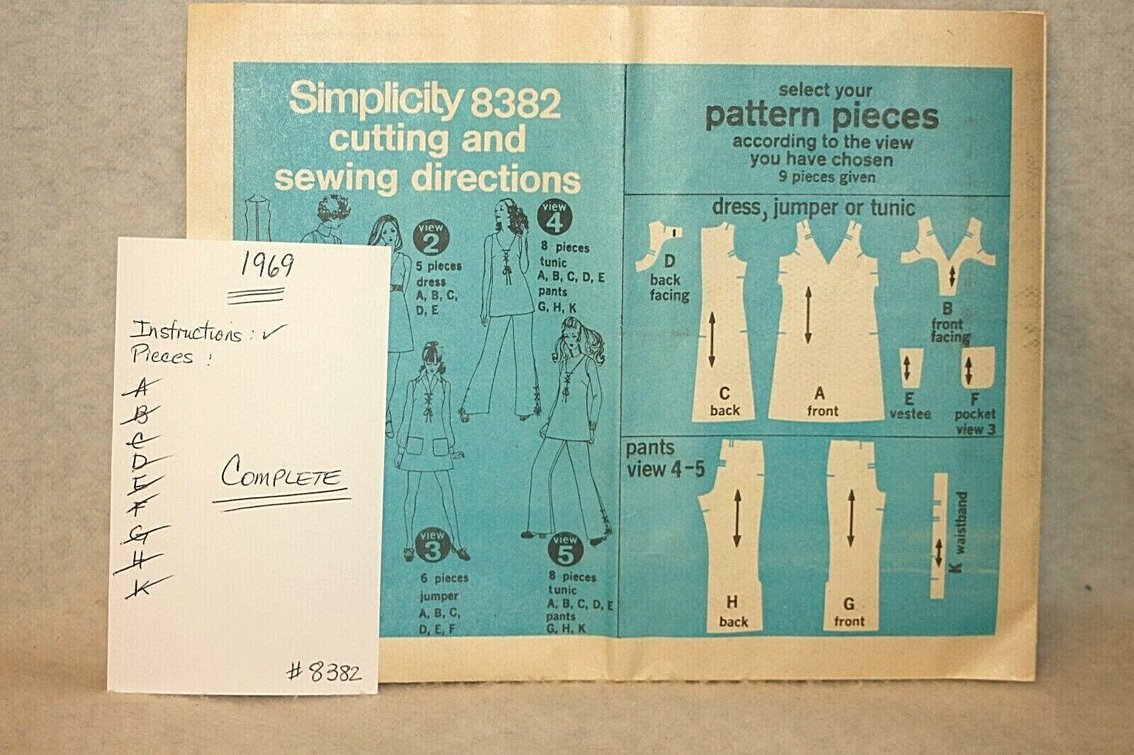 60s VINTAGE 1960s Sewing Pattern Dress Pants Jumper Tunic SIMPLICITY 8382 Sz 14