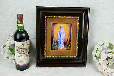 French LIMOGES enamel on porcelain painting religious portrait madonna mary
