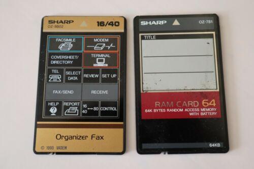 SHARP OZ-8B02 ORGANIZE FAX16/40 CARD AND SHARP OZ-781 RAM 64K CARD