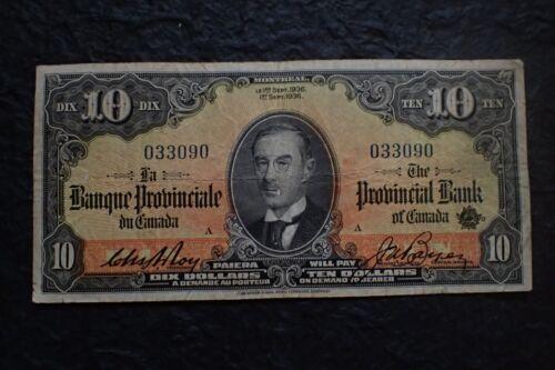 Canada, 1936,  10 Dollars, La Banque Provinciale,Provincial Bank of Canada, .090