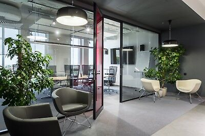 Cgp Office Partition System Glass Aluminum Wall 9 X 9 Wdoor Black Color