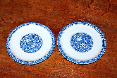 Pair Vintage Japanese Studio Imari Porcelain Signed Blue & White Plates