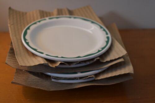 4 Vintage Buffalo China HEAVY Restaurant Ware Green Scroll Crest Plates
